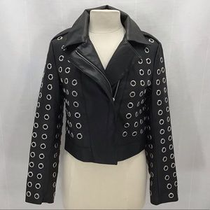 Forever 21 Motorcycle Jacket Faux Leather Grommet